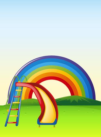 rainbow slide: Park scene with slide and rainbow illustration