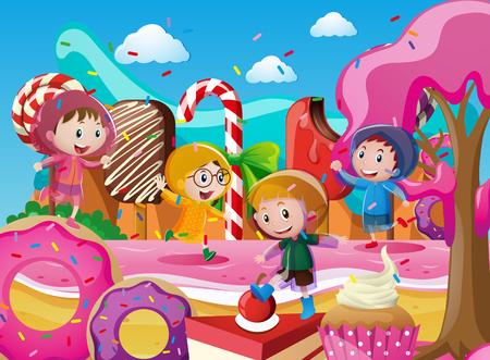 Children in raincoats playing in candyland illustration Illustration