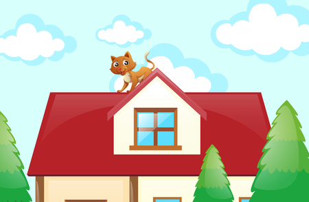 Cat on the rooftop illustration