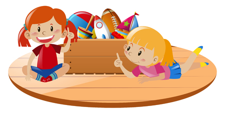 Girls playing toys on the floor illustration