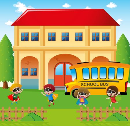 schoolbus: School scene with students and bus illustration