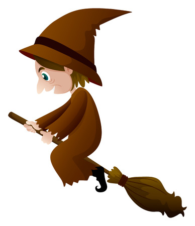Old witch in brown clothes on broom illustration Illustration