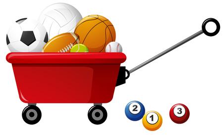 Diferentes tipos de bolas en la ilustración de carro rojo