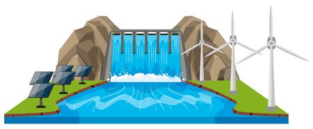 ダムと川のイラスト シーン  イラスト・ベクター素材
