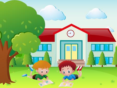 Two boys reading book in the school yard illustration Illustration