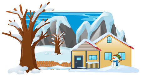 Winter scene with snowman in front of house illustration