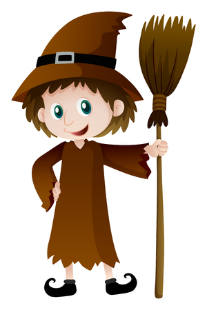 spells: Witch holding magic broomstick illustration