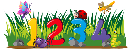 Numbers one to four in garden illustration Illustration