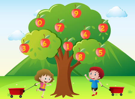 Happy kids and numbers on apple tree illustration