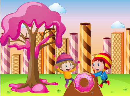 Kids playing in candyland illustration