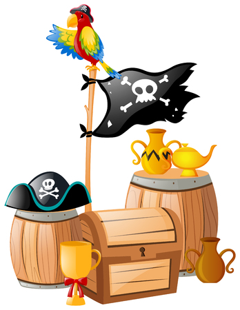 macaw: Pirate flag and treasure chest illustration Illustration