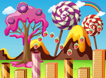 rainbow sky: Fantasy land with lollipop and donuts illustration