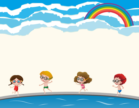 Four kids in swimming suit and goggles illustration Ilustração