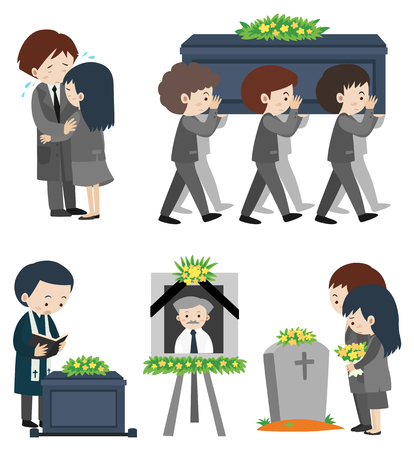 Funeral ceremony with people crying illustration