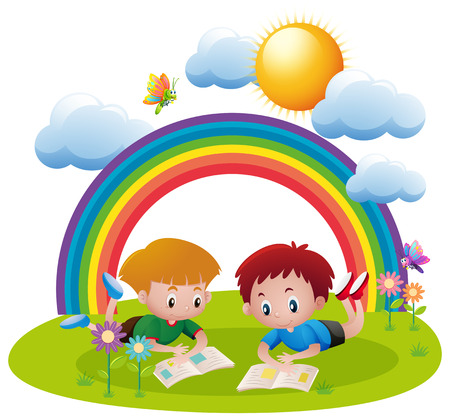 Two boys reading books in the park illustration