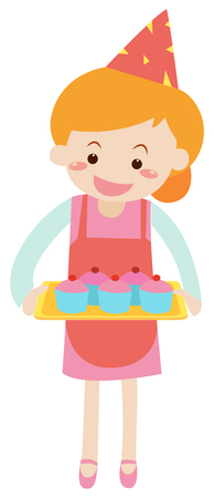 Woman holding tray of cupcakes illustration
