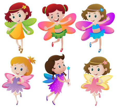 Six fairies with colorful wings illustration