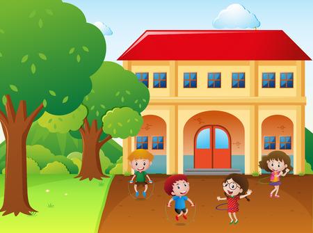 hulahoop: Four kids hulahoop and jump rope at school illustration Illustration