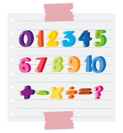 Font designs for numbers and sign illustration