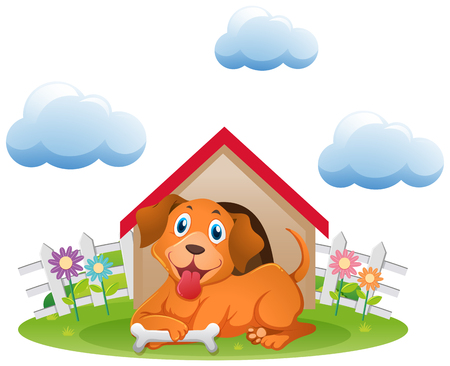 Cute dog at the doghouse in garden illustration