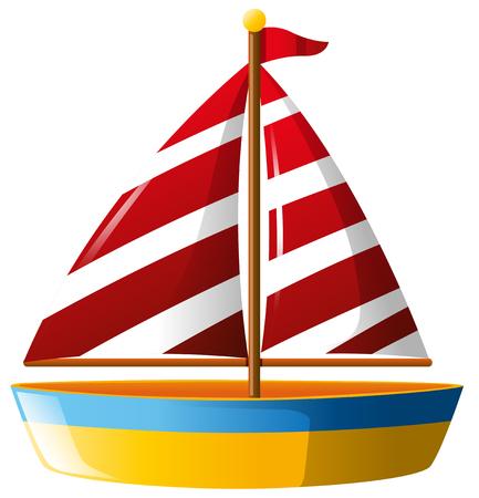 Bateau avec voile rouge illustration Banque d'images - 78195070