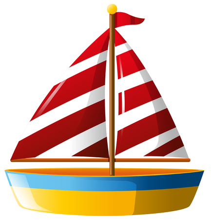 Boat with red sail illustration