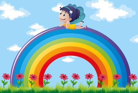 fée détente sur coloré arc-en-ciel illustration
