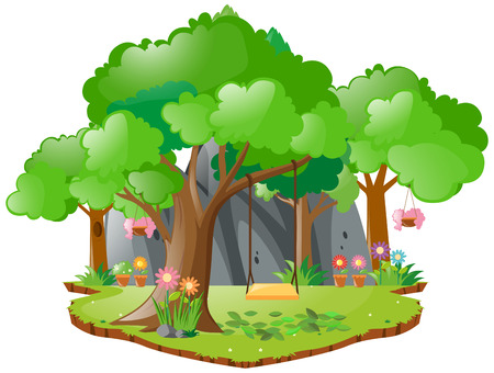 Scene with swing on the tree illustration