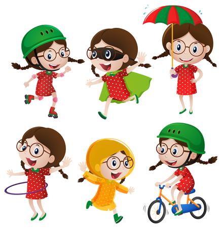 hulahoop: Girl doing six different activities illustration Illustration