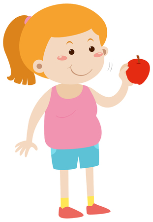 Fat woman eating red apple illustration Illustration