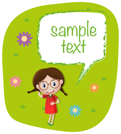 Sample text template with girl on the lawn illustration