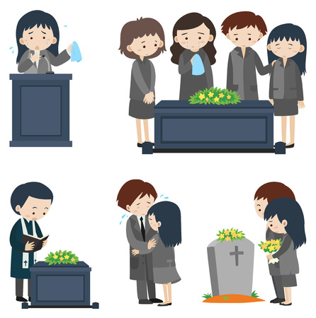 Different scenes at funeral illustration