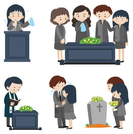 Verschillende scènes bij begrafenisillustratie