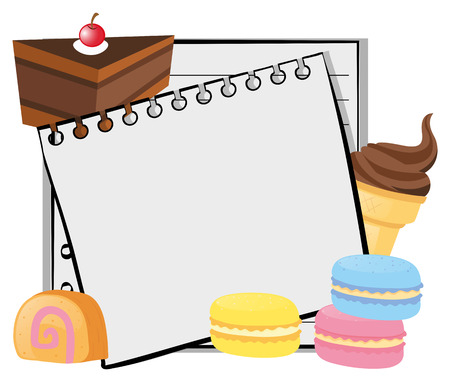 macaron: Paper template with cake and icecream illustration Illustration
