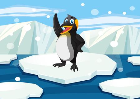 Penguin standing on iceberg illustration