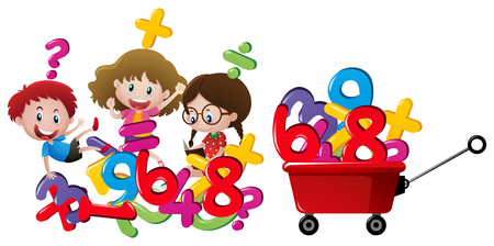 Kids and numbers in red wagon illustration Illustration