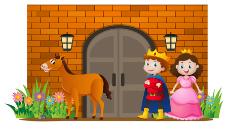 Prince and princess at the castle illustration