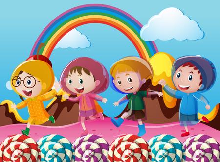 Happy children running in wonderland illustration