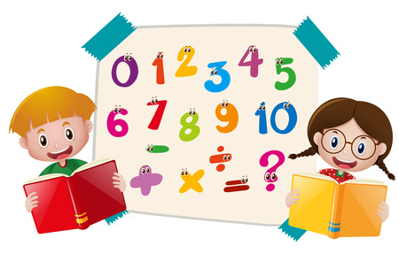 Kids and numbers on paper illustration