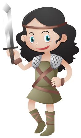 Female warrior holding sharp sword illustration Illustration