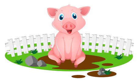 Little pig in muddy puddle illustration Illustration