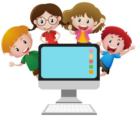 Vier gelukkige kinderen achter de illustratie van het computerscherm