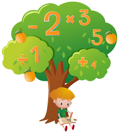 Boy doing math problem under the tree illustration Illustration