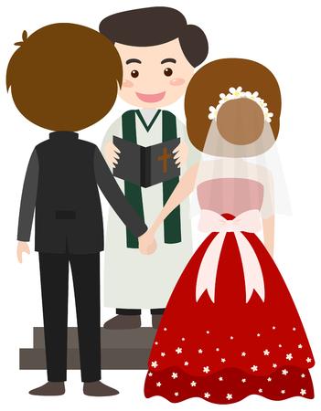 Wedding scene with bride and groom illustration