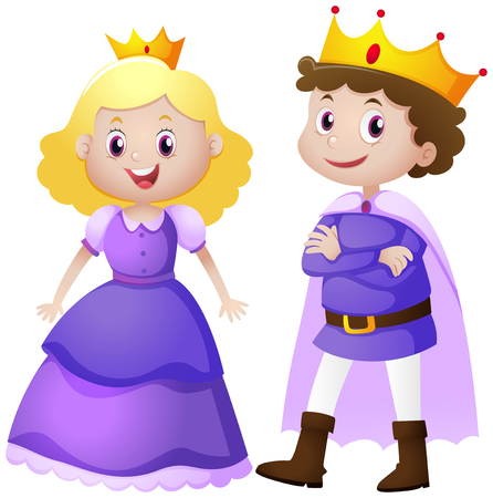 King and queen in purple costume illustration Ilustracja