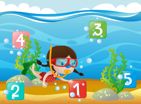 Counting numbers with girl diving underwater illustration Illustration