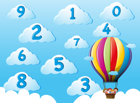 Kids on balloons counting numbers illustration Illustration