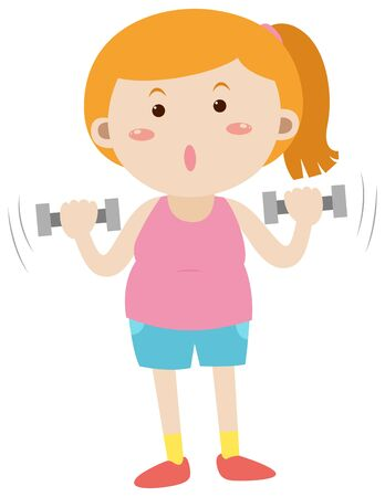 Woman exercising with dumpbells illustration