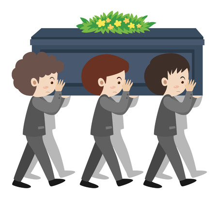sholders: People carry coffin on sholders at funeral illustration