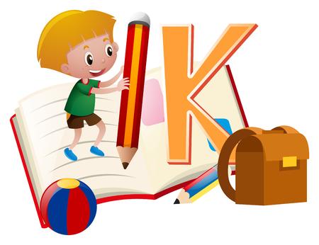 Letter K and little boy illustration Çizim